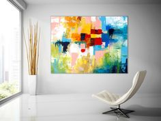 Extra Large Wall Art Palette Knife Artwork Original Painting on Canvas Huge Size Art Modern Wall Decor Contemporary Art Large Abstract Wall Art, Abstract Canvas, Oil Painting On Canvas, Canvas Paintings, Abstract Paintings, Bathroom Paintings, Large Painting, Blue Abstract, Diy Painting