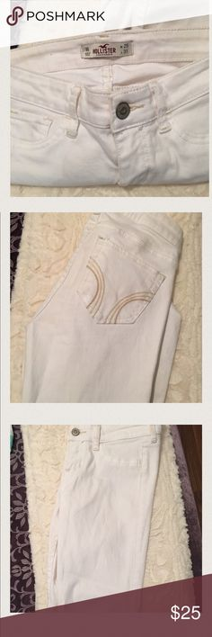 Hollister white jeans Hollister white jeans. Used once, super skinny 1R . No stains Hollister Jeans Skinny