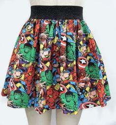 For sale is a Comic Book Skirt made with Marvel Comic Superhero print fabric. Comic Book Superheroes, Comic Books, Geek Fashion, Womens Fashion, Fandom Fashion, Marvel Clothes, Geek Chic, Diy Clothes, Ideias Fashion