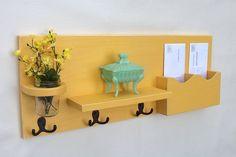 Mail Organizer - Mail Holder - Coat Hooks - Key Hooks - Jar Vase - Organizer - Coat Rack - Wood. $49.95, via Etsy.