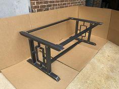 Super Heavy Duty Design Modern Table Base 2 Bars With Welded Furniture, Iron Furniture, Steel Furniture, Furniture Design, Table En Bois Diy, Iron Table Legs, Stone Coffee Table, Welding Table, Welding Design