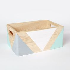 Geometric Wooden Box With Handles - living room