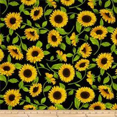 Timeless Treasures Fleur Sunflowers Black