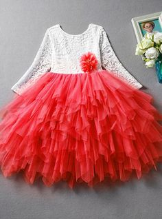 22c9e7715 Kids Girls' Basic Daily Solid Colored Lace / Layered Long Sleeve Cotton /  Polyester Dress