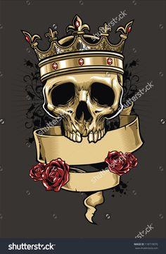 Vector Skull Wearing A King Crown - 118719070 : Shutterstock