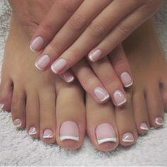 french nails lace Hairstyles (With images) French Pedicure, Manicure E Pedicure, French Tip Nails, Mani Pedi, French Toes, French Manicure Nails, Pedicure Ideas, Gorgeous Nails, Love Nails