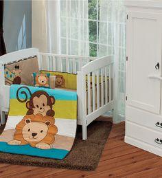 New Baby Boy Monkey Giraffe Lion Baby Friends Crib Bedding Nursery Set 6 pc Nursery Crib, Nursery Bedding Sets, Baby Bedroom, Baby Room Decor, Crib Bedding, Pink Baby Boy, Baby Boy Monkey, New Baby Boys, The Babys