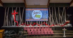 Drew Hoopingarner and his team from Southport Presbyterian Church bring us this stage design for their Advent season. They got their inspiration from The Red Line on CSDI. This set was a massive undertaking for their team, but they wanted to go just as big as their stained glass windows from last year. This set included 40+ white birch trees, a ribbon cross, a pallet manger and lots of snow. Supplies List: - 250 ft of chicken wire - 1 roll of white butcher paper - 200 pieces of white tissue…