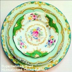 Mismatched china is a great twist on a classic!