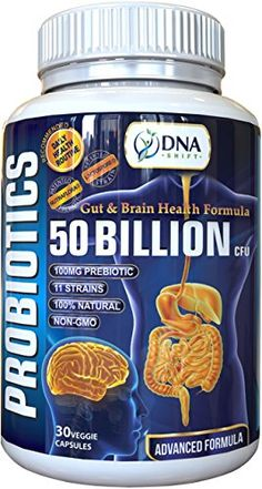 DNA Shift LIVE NATURAL Probiotic 50 Billion CFU  Prebiotic Gut  Brain supplement best for Men  Women to Support Candida Yeast Infection Stomach IBS Indigestion Constipation Diarrhea Bloating Gas *** Want to know more, click on the image.
