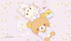 Rilakkuma, Korilakkuma and Kiiroitori doing a sleepover. Cute Pastel Wallpaper, Sanrio Wallpaper, Cute Wallpaper For Phone, Hello Kitty Wallpaper, Kawaii Wallpaper, Cute Wallpaper Backgrounds, Pink Wallpaper, Cute Wallpapers, Iphone Wallpaper
