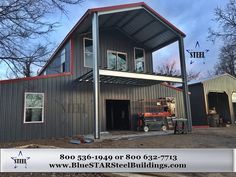 A mezzanine metal building is an ideal design feature which extends your space needs to include additional living space, meeting space, or storage space. Gambrel Barn, Gambrel Roof, Colonial Style Homes, Ranch Style Homes, Shop Buildings, Metal Buildings, Metal Shop Building, Building An Addition, American Barn
