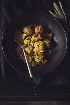 Vegan Pumpkin Stew: Whiskey Barley & Lentils,Pumpkin Dumplings, and Charred Cauliflower