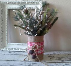 rustic christmas decorations | Christmas decor-Holiday rustic floral-table top decor