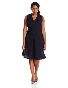 Adrianna Papell Womens Plus Size Solid Pebble Crepe with Belt Blue Moon 18W *** Click image to review more details.(This is an Amazon affiliate link and I receive a commission for the sales)