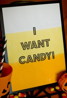 Dip-dyed cardstock to make printable Halloween candy corn art. #HalloweenRIT