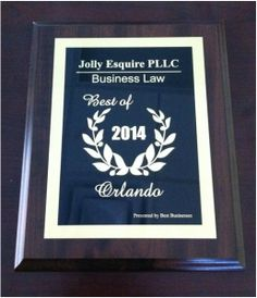 Our Award in Business Law for serving Small Business Owners. #JollyEsquire #Business #Law