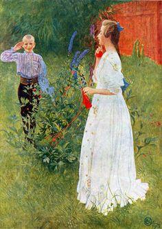 """Målningen """"Hennes höghet stora syster"""" är en olja av Carl Larsson från 1912. Här ser vi två av Carl och Karin Larssons barn, Kersti 16 år och Esbjörn 12 år. Esbjörn gör här honnör för storasyster. Syskonen står i Lilla Hyttnäs trädgård och Kersti är klädd i en hellång luftig vit klänning med en stickning i händerna. Att det är högsommar ser man bland annat av stormhattens blå blommor."""