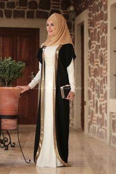 Allen Zerafet Yelekli Elbise - Siyah Krem - Which Wedding Fav Islamic Fashion, Muslim Fashion, Modest Fashion, Fashion Dresses, Hijabi Gowns, Abaya Mode, Hijab Evening Dress, Hijab Dress, Abaya Designs