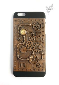 This case for iPhone 6+ is hand sculpted from polymer clay, painted with acrylic paints, and finished with a sealant in steampunk style. This is an unusual and unique gift for the fans of this style.  Weight: 1,76 oz (~50g).  Case is waterproof, but avoid the contact with water.  Case comes in a cardboard box ready to be gift wrapped.