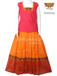 Handloom traditional Chettinadu cotton pattupavadai for kids in orange and red color. Its a casual and comfort wear for any occassion when matched with earthly accessories for your little ones.