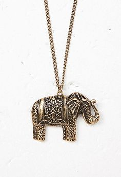 Etched Elephant Pendant Necklace   Forever 21 - 1000162607