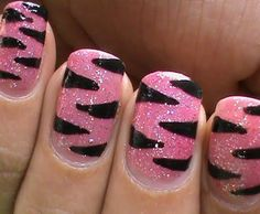 "Pink glitter nails with gloss black ""tiger"" stripes, free hand nail art"