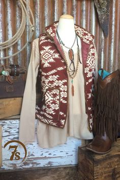 The Centralia – wine and ivory southwest vest from Savannah Sevens Western Chic