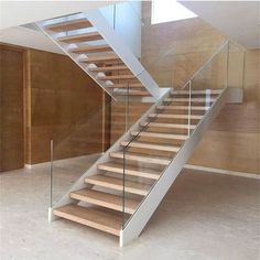 Online Shop Foshan factory tempered glass wood u shape stairs, house staircase design Staircase Glass Design, Steel Stairs Design, Floating Staircase, Staircase Design Modern, House Staircase, Staircase Railings, Glass Stair Railing, U Shaped Stairs, Balustrades