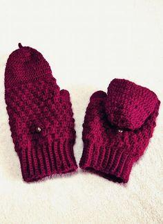 玉編みのフード付き手袋 【無料編み図】 - 北欧風無料編み図 アケメロン伝説~きみだけに~ Mitten Gloves, Mittens, Knitted Hats, Crochet Hats, Lace Knitting, Hand Warmers, Winter Hats, Sewing, Sweaters