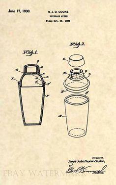 Vintage Antique Bar Art Deco 15 Official Cocktail Shaker US Patent Art Print