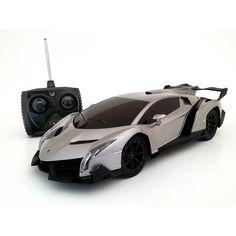 Grey Lamborghini Veneno 1:18-scale Remote Control Supercar.