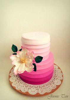 Sweetest Wedding Cake - by JoonieTan @ CakesDecor. Gorgeous Cakes, Pretty Cakes, Amazing Cakes, Pink Frosting, Buttercream Cake, Frosting Tips, Wedding Cake Designs, Wedding Cakes, Pink Ombre Cake