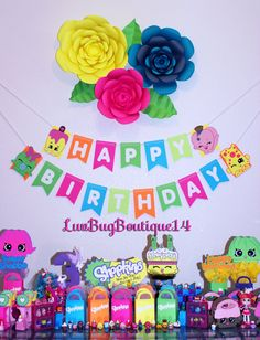 Shopkins Birthday Banner Shopkins Party Banner by LuvBugBoutique14