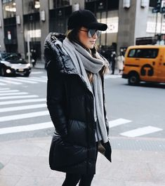 Winter style - black parka and grey scarf
