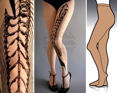 L/XL Fish Bone tattoo tights by tattoosocks