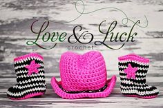 Zebra print and Hot Pink Crochet Cowgirl Boots by ShopLoveandLuck, $40.00