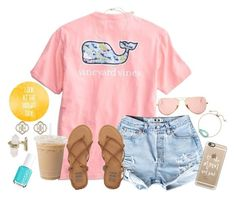 """Look at the bright side!☀️"" by luanacabada ❤ liked on Polyvore featuring Vineyard Vines, Kendra Scott, Ray-Ban, Casetify, Billabong and Essie"