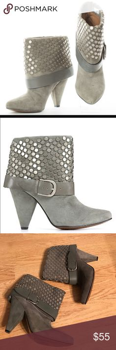 Gray Rosegold Suede Studded Halle Booties size 37 Incredible gray studded boogies. Heels with low buckle. One heel has a gash in the fabric on the inside. Size 37 rosegold Shoes Ankle Boots & Booties