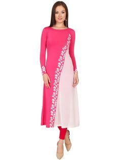 Ira Soleil Pink & Off White Polyester Long Kurti @Looksgud.in #Ira Soleil #PinkAndOff White #Long Kurti