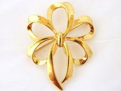 "Mid Century Napier Ribbon Bow Brooch Coat Pin Signed Estate Costume Jewelry 2.5"" #Napier"