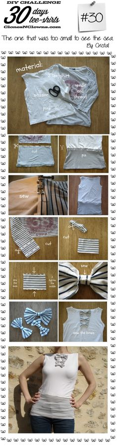 DIY Nautical Bows T-Shirt Restyle