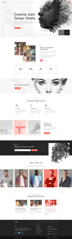 Desart - Creative Web Design Studio PSD Template by George_Fx Web Design Studio, Creative Web Design, Site Design, Web Layout, Layout Design, Ux Design, Landing Page Inspiration, Graphic Design Inspiration, Design Your Own Website