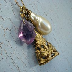 Chatelaine necklace with amethyst nugget and watch fob by AdornmentsNYC, $38.00