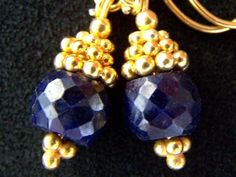 Faceted Sapphire earrings Gold Vermeil