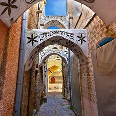 The Painted Village of Pyrgi Chios Island, Greece Mykonos, Santorini, Chios Greece, Crete, Albania, Places In Greece, Greek Isles, Samos, Europe