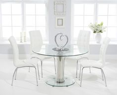 Sofia 120cm Round Glass Dining Table with Calgary Chairs