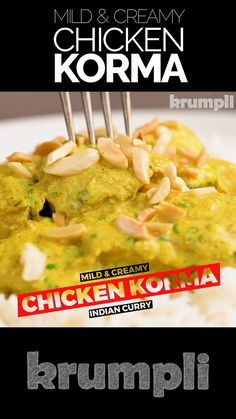 A chicken korma is a mild and fragrantly spiced Indian curry typified by a silky smooth yoghurt based sauce and moist juicy meat! masala recipe indian foods videos Chicken Korma, Mild and Creamy Curry Indian Chicken Recipes, Veg Recipes, Curry Recipes, Easy Chicken Recipes, Slow Cooker Recipes, Indian Food Recipes, Asian Recipes, Vegetarian Recipes, Dinner Recipes