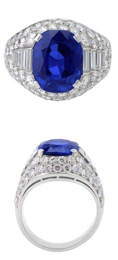 BURMA SAPPHIRE TROMBINO RING, NO HEAT, BY BULGARI  Set with an antique cushion, brilliant/ step cut sapphire weighing 7.2 cts approx, within a pavé-set diamond surround, the shoulders set with graduated baguette-cut diamonds, mounted in platinum. The sapphire is certificated by SSEF test report no. 73377 stated the sapphire is natural Burma, no heat
