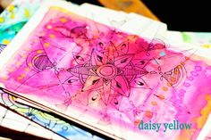 California Mandalas & Index Cards - daisy yellow - Rolodex, Yellow Daisies, Index Cards, Altered Art, Circles, Journaling, Card Ideas, Daisy, Coins